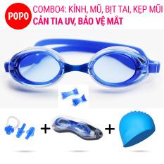 Kính bơi người lớn cho nam nữ 1153 kèm mũ bơi silicone và bịt tai kẹp mũi POPO mắt kính bơi trong chống tia UV chống sương mờ mũ bơi người lớn, nón bơi nữ, mắt kiếng bơi hiện đại