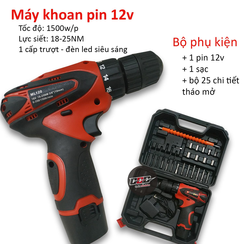 Máy khoan pin 12v bắt vít cầm tay không dây thiết kế nhỏ gọn tiện dụng dễ sử dụng kèm...