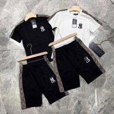 Đồ bộ nam hè PHỐI NÂU, chất liệu thun lạnh 4 chiều, phong cách thể thao, 2 màu trắng đen, full size M L XL XXL từ 35-90kg