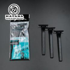 Dao cạo râu cao cấp Nhật LUS-3P bộ 3 chiếc (màu đen)