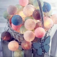 Đèn trang tri – Đèn dây cotton 20 bóng loại 6 Cm – Nhiều màu