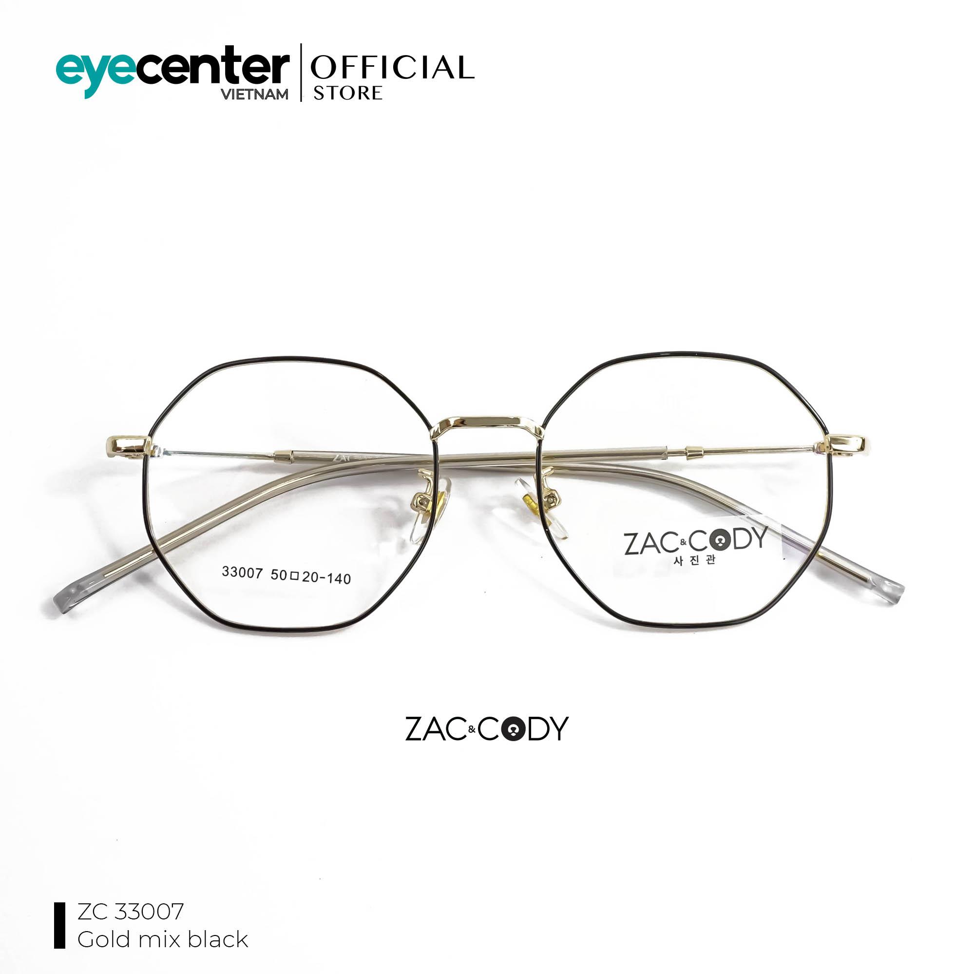 Gọng kính cận unisex nam nữ chính hãng zac & cody kim loại retro nhiều màu, chân kính chất liệu...