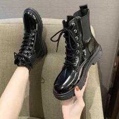 Giày cao cổ nữ, Bốt nữ da cao cấp dây buộc, giày nữ cao cổ đi học , đi chơi