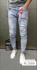 quần jean nam trắng xanh mẫu mới 2019 phối wash rách xước sành điệu ms 2000 violet_fashion