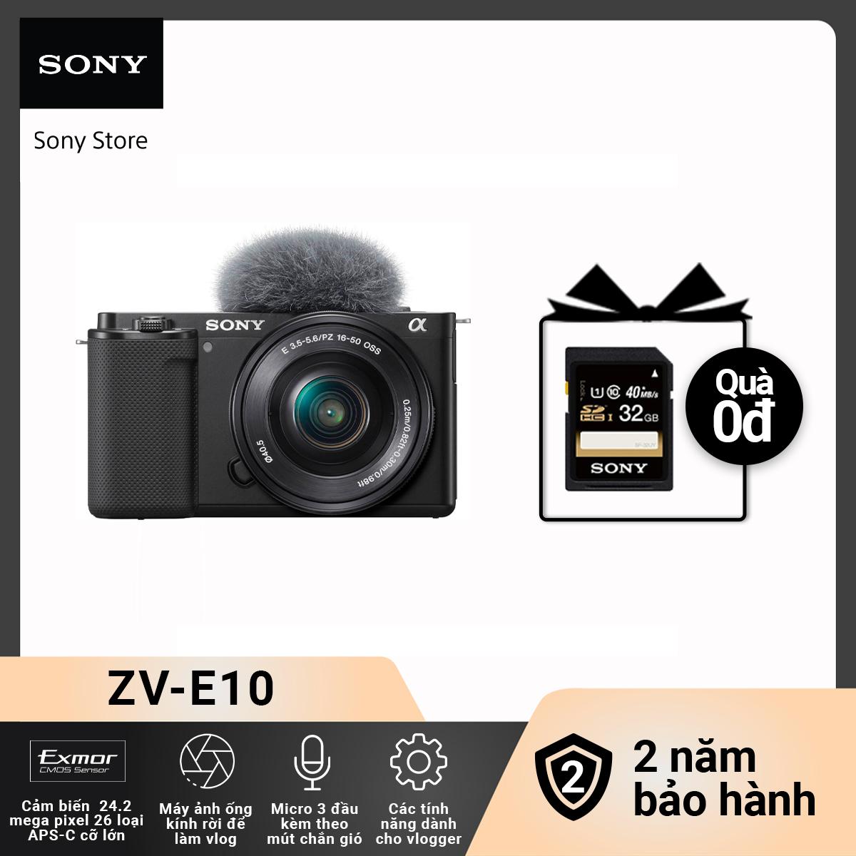 [Voucher 300k Follower] Máy ảnh ống kính rời Sony camera-vlog ZV-E10L/BQ AP2
