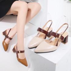 Giày cao gót 6cm bít mũi khóa C hở gót