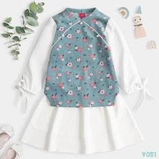 Áo dài cách tân bé gái mặc tết Vải Nhung Tăm Siêu Đáng Yêu Thời Trang Cao Cấp