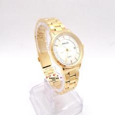 Đồng hồ nữ HALEI dây kim loại có lịch thời thượng ( HL565 dây vàng mặt trắng ) – TẶNG 1 vòng tỳ hưu phong thuỷ