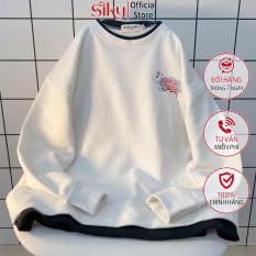 Áo sweater nữ, áo nỉ bông dáng rộng giả vạt dưới Jungle Tiger siêu xinh – SIKY HX12