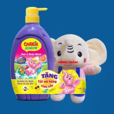 Sữa tắm gội toàn thân cho bé Carrie Junior 700ml mới 2021 hongthamshop.com TG04, tặng túi voi bông xinh xắn.