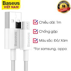 Cáp dữ liệu sạc nhanh Baseus cao cấp USB to Micro 2A 1m White CAMYS-02-Phân phối chính hãng bởi Vietstore