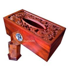 Hộp khăn giấy gỗ hương Trạm mặt rồng phượng chữ nhật tặng hộp đựng tăm