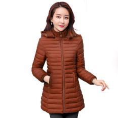 Áo Bông Nữ Dài 2019 Mùa Thu Đông Sản Phẩm Mới Kiểu Hàn Quốc Mỏng Mỏng Nhẹ Lông Vũ Quần Áo Cotton Nữ Bó Eo Áo Bông Áo Khoác