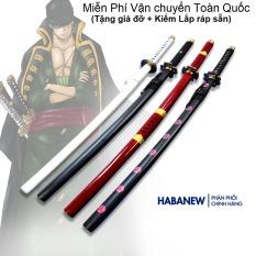 Mô hình kiếm zoro gỗ dài 1m phiên bản giá rẻ dùng để Cosplay nhân vật Zoro trong One Piece hoặc làm kiếm katana gỗ trưng bày phong thủy, Tặng kèm giá đỡ 2 tầng, Miễn phí đổi trả