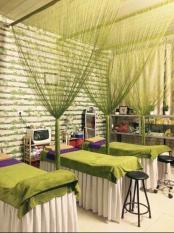 Rèm sợi dù đan kim tuyến trang trí nhà cửa, vách ngăn phòng, rèm cửa sổ chuyên dùng cho spa cao cấp kích thước 3mx3m