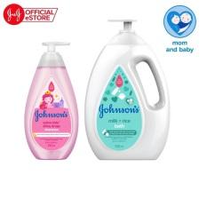 Bộ Sữa tắm chứa sữa & gạo Johnson's Milk Rice 1000ml và Dầu gội óng mượt cho bé Johnson's Shiny Drops 500ml – 540018226