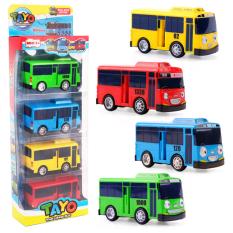 Tayo bus Xe ô tô đồ chơi trẻ em bộ 4 chiếc 4 màu xe chạy cót (TAYO, NANI, GANI)