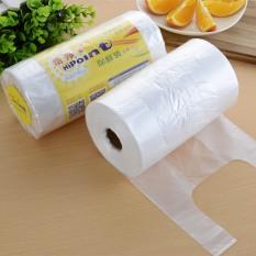 Cuộn 350 túi bóng sạch đựng thực phẩm có quai xách ( Tặng găng tay y tế )