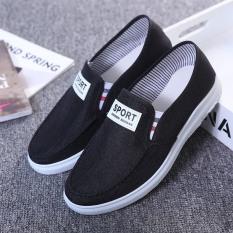 Giày lười mọi nam vải Sport 2 màu Xám Đen Thoáng khí đơn giản – Minhnhat