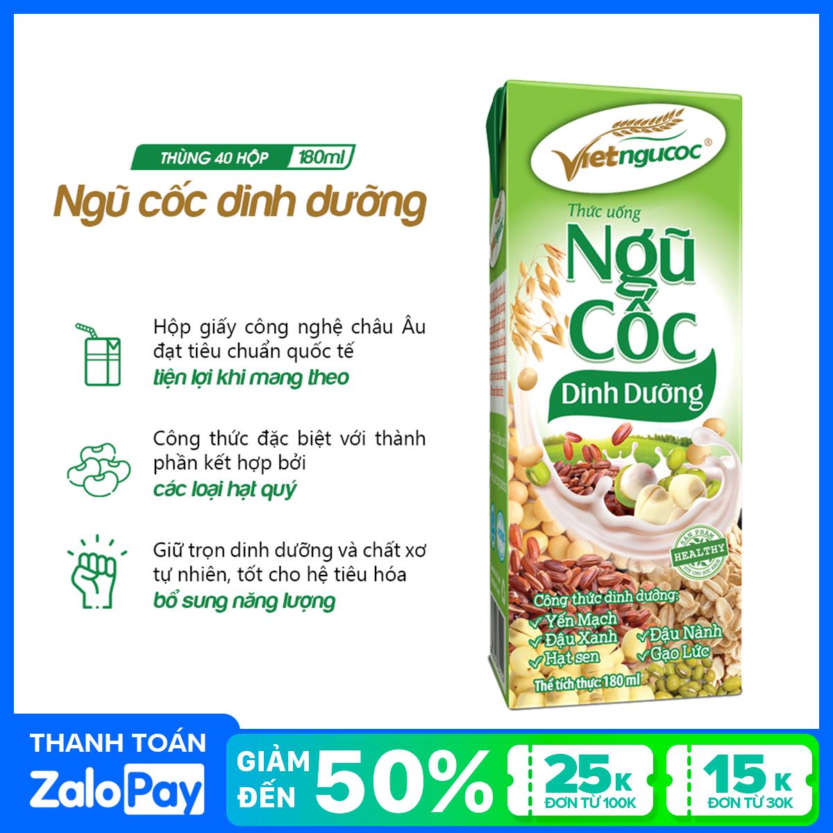 Thùng 40 hộp Thức uống Ngũ cốc dinh dưỡng Việt Ngũ Cốc – 180ml/hộp