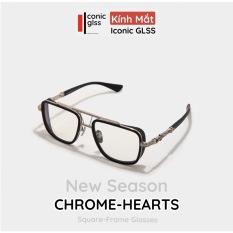 Gọng kính cận vuông CHROME HEARTS nam nữ màu đen nhám chất liệu Titanium chuẩn từng chi tiết phụ kiện thời trang hot trend 2021