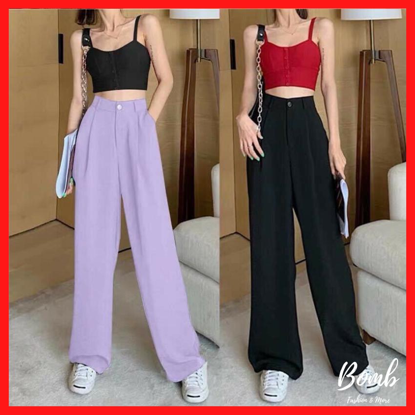 Trendy! Quần ống rộng culottes xuông dài siêu Hot, quần ống suông cạp cao dáng dài 3 màu tím, đen, kem cực trend – Bomb Unisex