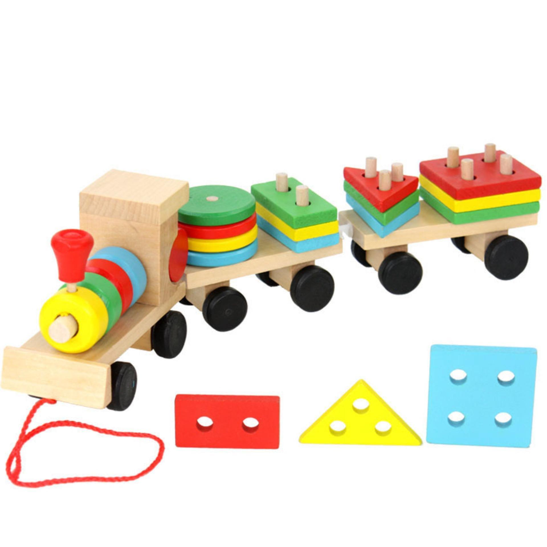 Đồ chơi đoàn tàu hỏa thả hình 16 khối gỗ phát triển tư duy cho bé