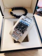 Đồng hồ Nam halei mặt vuông dây Bạc mặt đen có lịch HL011a tặng vòng tì hưu