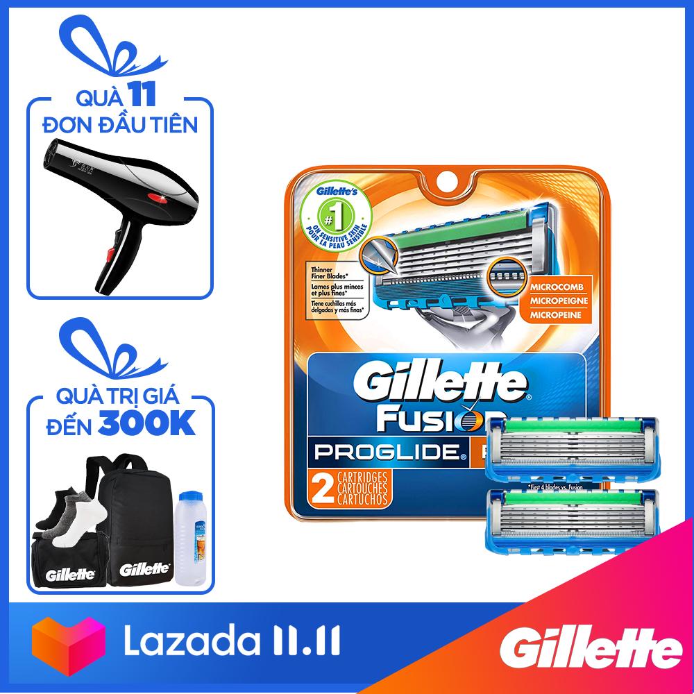 [11.11 Tặng Túi du lịch Gillette khi mua sản phẩm lẻ Gillette từ 149k] Lưỡi dao cạo râu Gillette Fusion5 Proglide Power ( 2 lưỡi/vỉ )