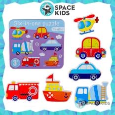 Đồ chơi trẻ em Space Kids Hộp ghép hình gỗ 6 trong 1 đồ chơi thông minh nhiều chủ đề cho bé loại hộp dẹt, chất liệu gỗ tự nhiên
