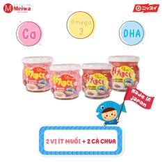 Hộp 4 lọ ruốc cá hồi Meiwa bổ sung DHA, EPA, omega-3, Ca cho bé gồm: 2 lọ vị ít muối + 2 lọ vị cà chua HSD T9.2021 chính hãng