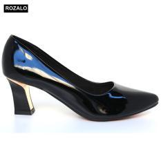 Giày cao gót bọc thép da bóng Rozalo R5775