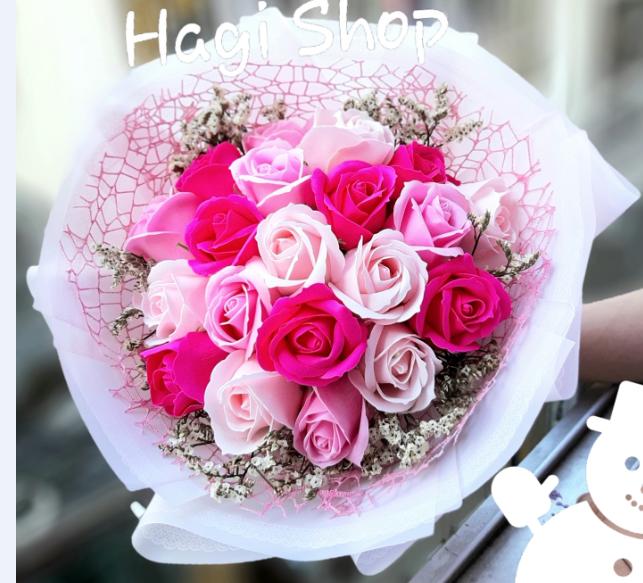Hoa sáp thơm bó tròn 20 bông vĩnh cửu, hàng sẵn