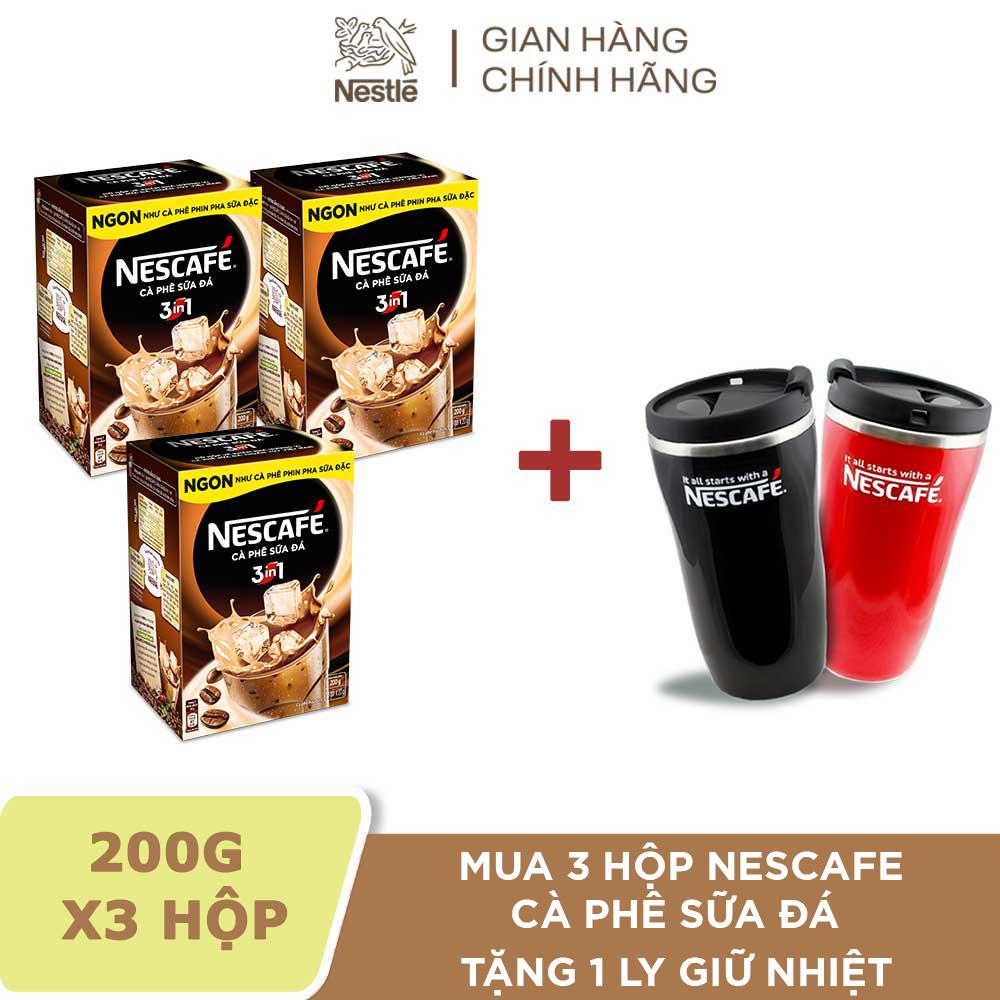 [Tặng 1 ly giữ nhiệt cao cấp 250ml] Combo 3 Hộp Nescafé 3in1 Cà phê Sữa Đá – 10 gói x 20g