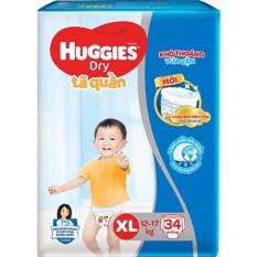 """Tã Quần Huggies Dry XL34 Mẫu mới """"Đệm mây co giãn"""" (32 Miếng)"""