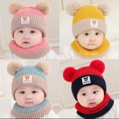 Mũ len hai quả bông kèm khăn quàng cổ giữ ấm cho bé, thích hợp cho bé từ 4 tháng đến 2 tuổi