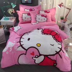 Bộ chăn ga gối mèo hồng ôm trái tim.