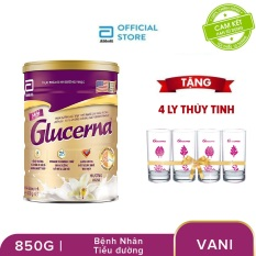 Lon sữa bột Glucerna Hương Vani 850g Tặng 4 Ly thủy tinh