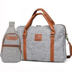 Túi xách công sở vải canvas cao cấp HANAMA G15 xám TẶNG túi vải S20 xám