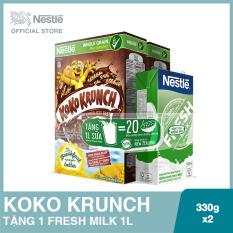 Mua 02 Hộp bánh ăn sáng Koko Krunch 330g, Tặng 01 Hộp sữa Fresh Milk 1L