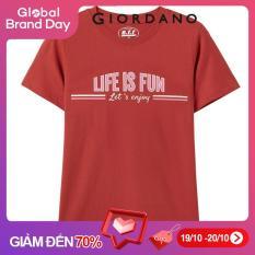 Áo T-shirt Tay ngắn Cổ tròn Nữ GIORDANO 100% cotton Mặt trước in chữ thú vị. FREESHIP 05390389