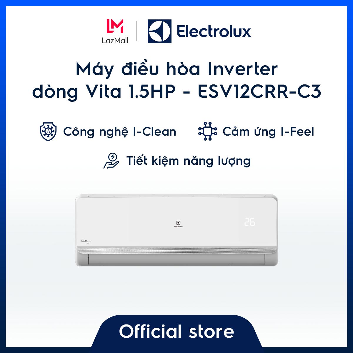 Máy điều hòa Electrolux Inverter 1.5HP 12000BTU ESV12CRR-C3 – Màu trắng sang trọng – Làm mát nhanh – Lọc khí và hạn chế vi khuẩn – Tiết kiệm điện – Cảm biến thông minh – Hàng chính hãng
