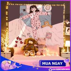 Thảm treo tường chất liệu Hình Cô Gái Ngủ polyester, Vải treo tường Decor trang trí phòng ngủ, phòng khách