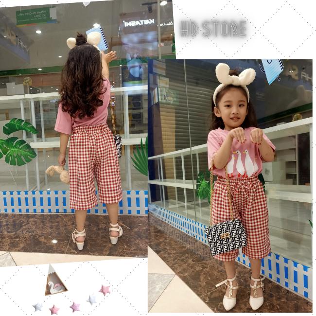 [SALE TẾT] set đồ bé gái sành điệu áo thun quần kate siêu hot 0217 xinh cute Hàn Quốc