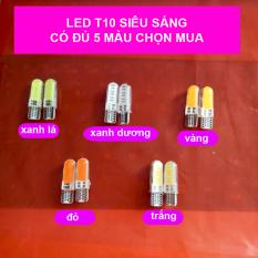Bộ 2 đèn LED lõi ngô xi nhan, đèn sương mù, đèn đồng hồ chân T10 chip COB Siêu sáng (lõi ngô)