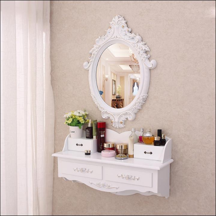 Bộ gương+ kệ trang điểm trắng gân vàng treo tường – gương- NH9434