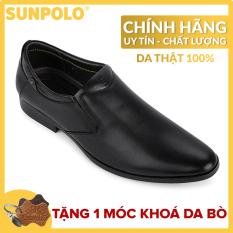 Giày nam, Giày công sở da bò SUNPOLO SPH264 (Đen)