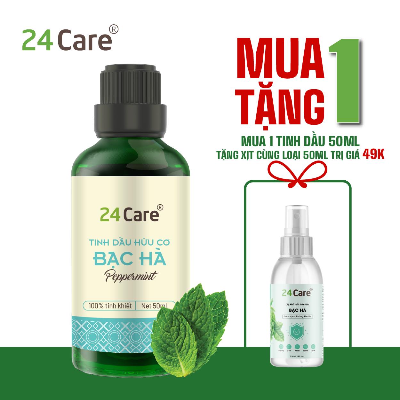 Tinh dầu Bạc Hà 24Care – Dung tích 10ml/50ml/100ml – Khử trùng, khử mùi, thơm phòng, thư giãn, sảng khoái