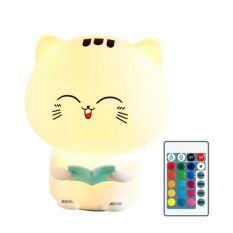 Đèn ngủ Silicone Mèo Chăm Học cảm biến đổi màu 16 màu và 3 màu có loại điều khiển từ xa – Venado