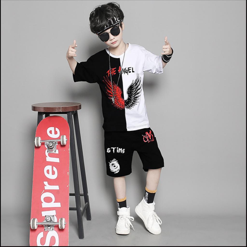[Giá Sốc] Set bộ quần áo trẻ em, áo thun bé trai dành cho bé từ 18-28kg in hình Angel siêu ngầu, chất liệu tốt thoáng mát